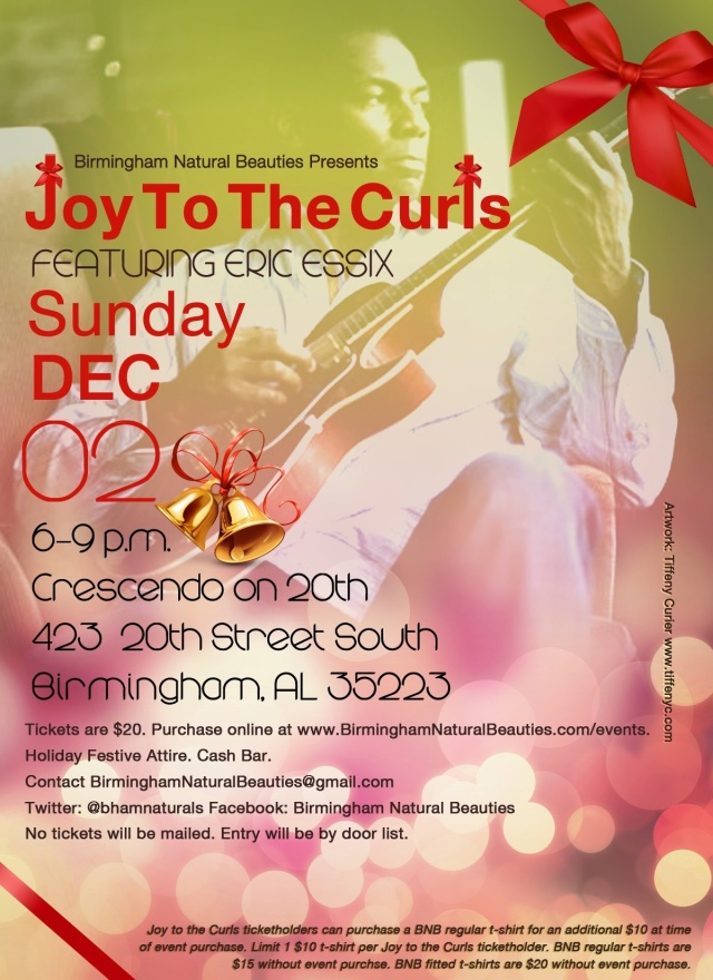 Joy to the Curls flyer designed by Tiffeny Curier