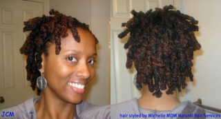 Juanice, loc knots front and back